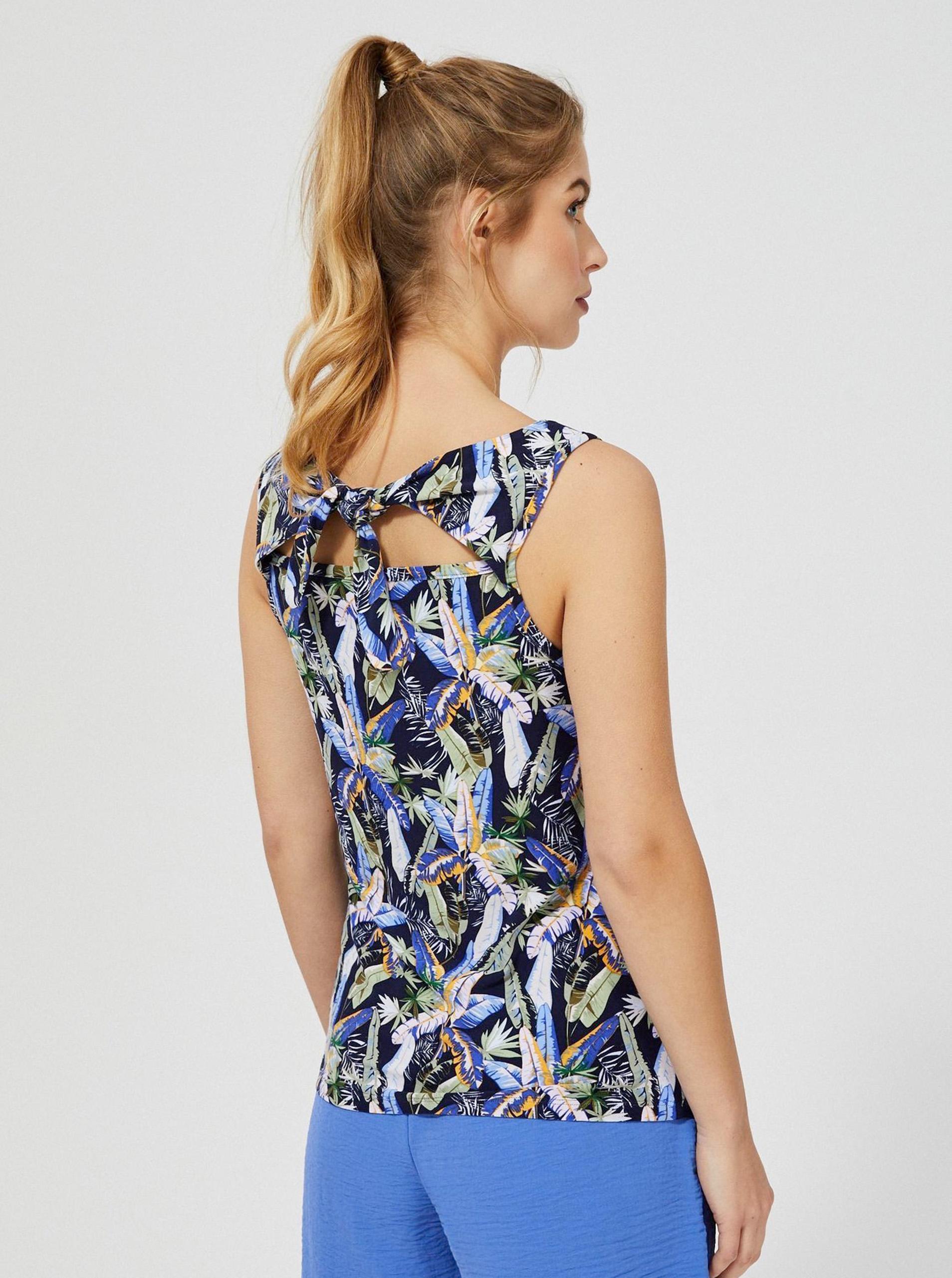 Moodo blu canottiera con motivo floreale