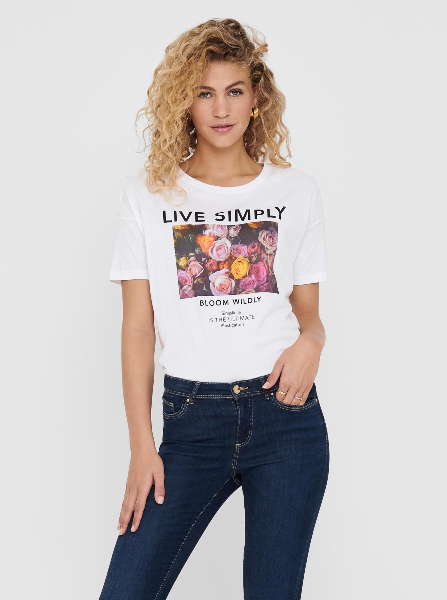 ONLY Maglietta donna bianco Flora