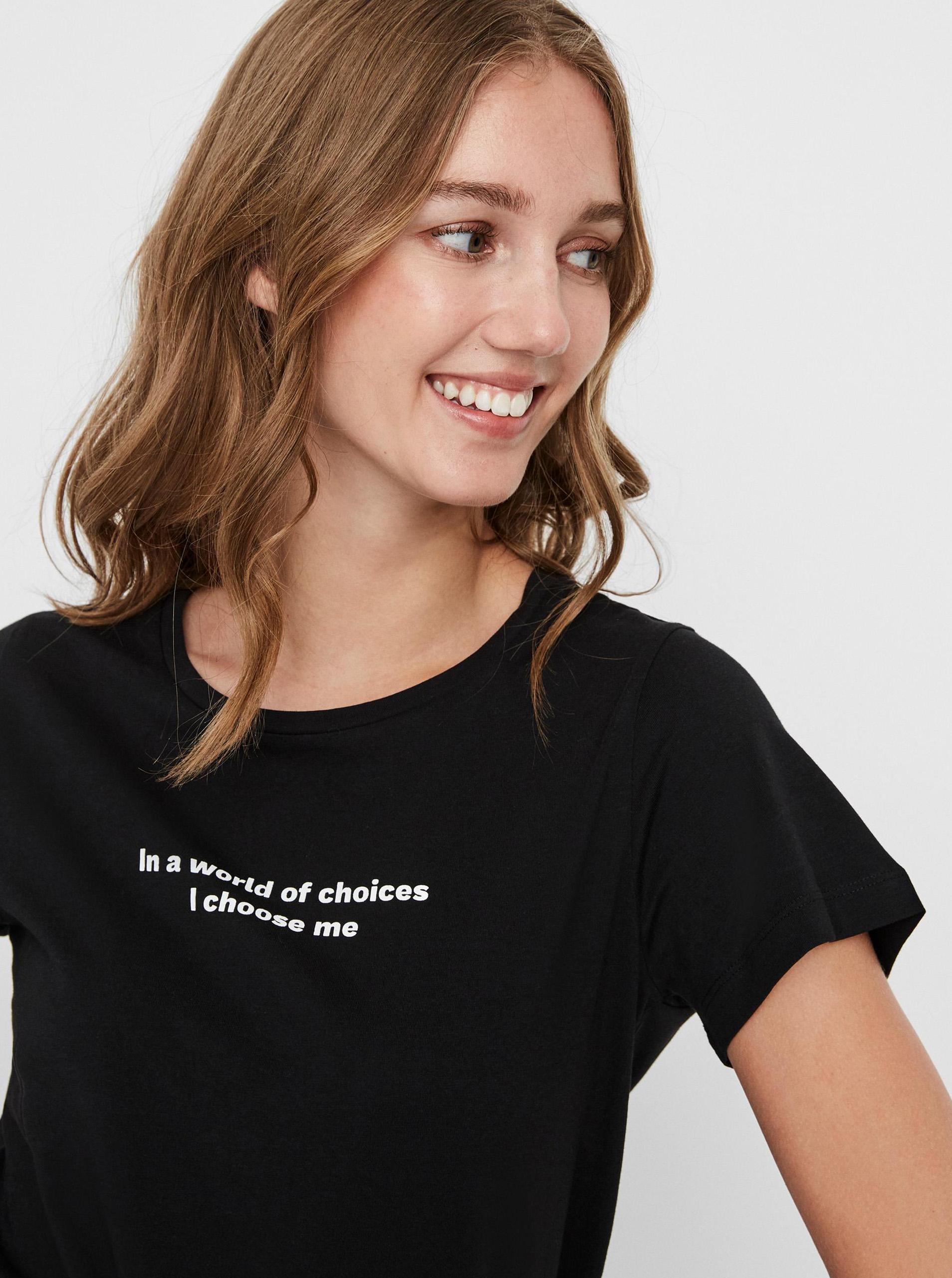 Noisy May nero da donna maglietta Nate con stampa