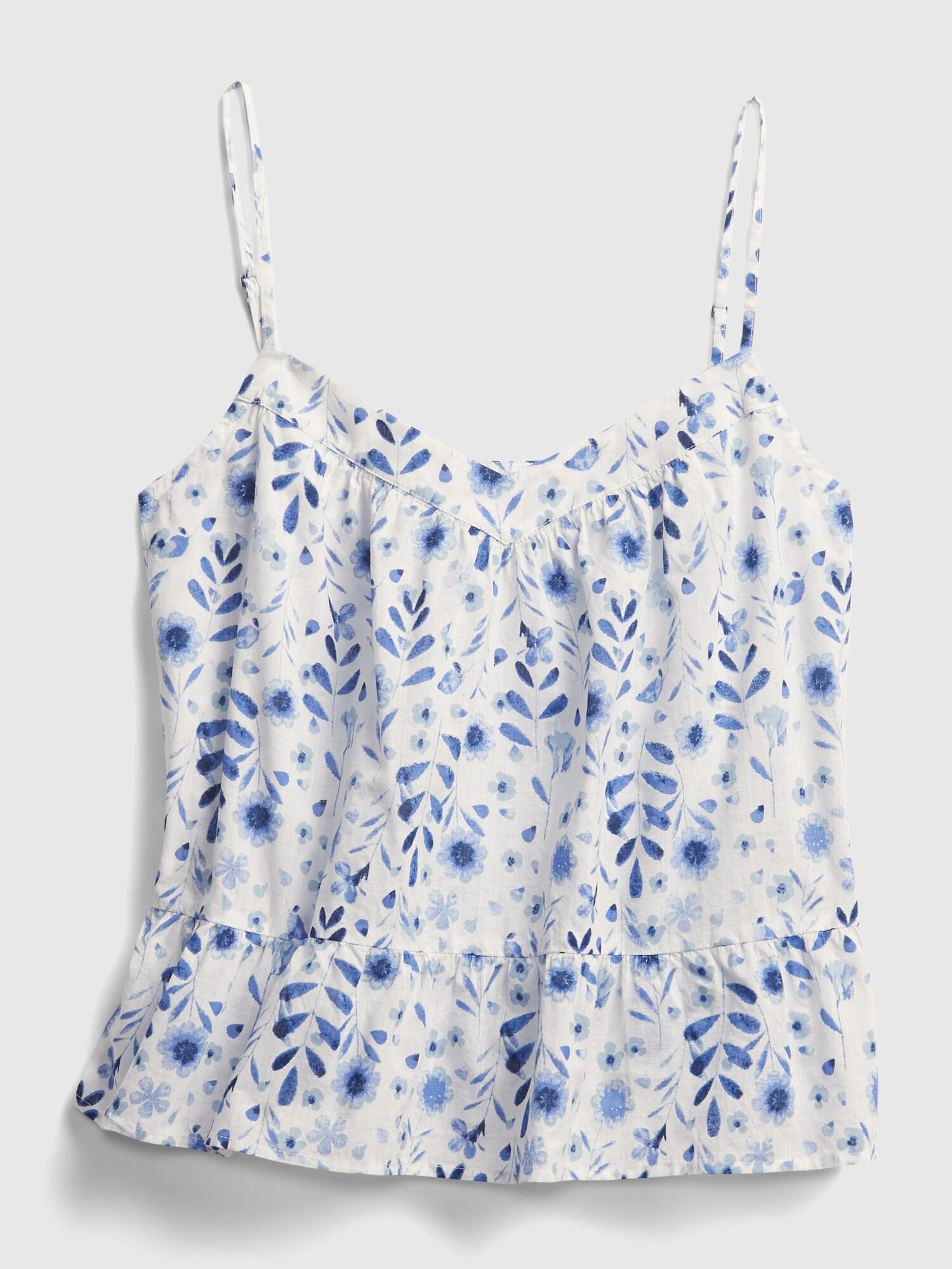 GAP blu top Peplum Swing con motivo floreale