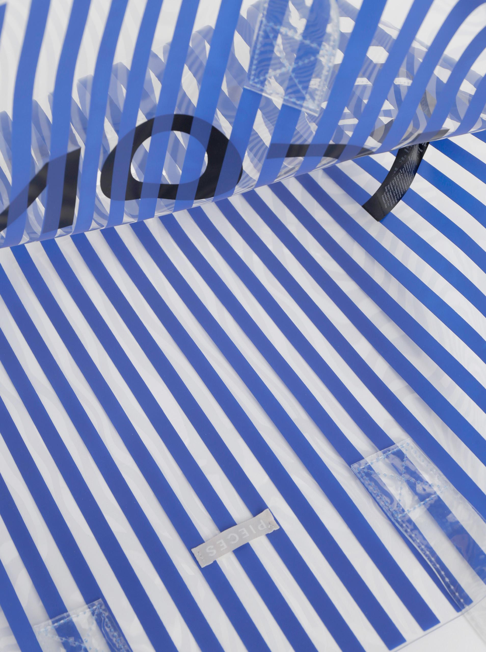 Borsa da spiaggia trasparente a strisce blu Pezzi Nina