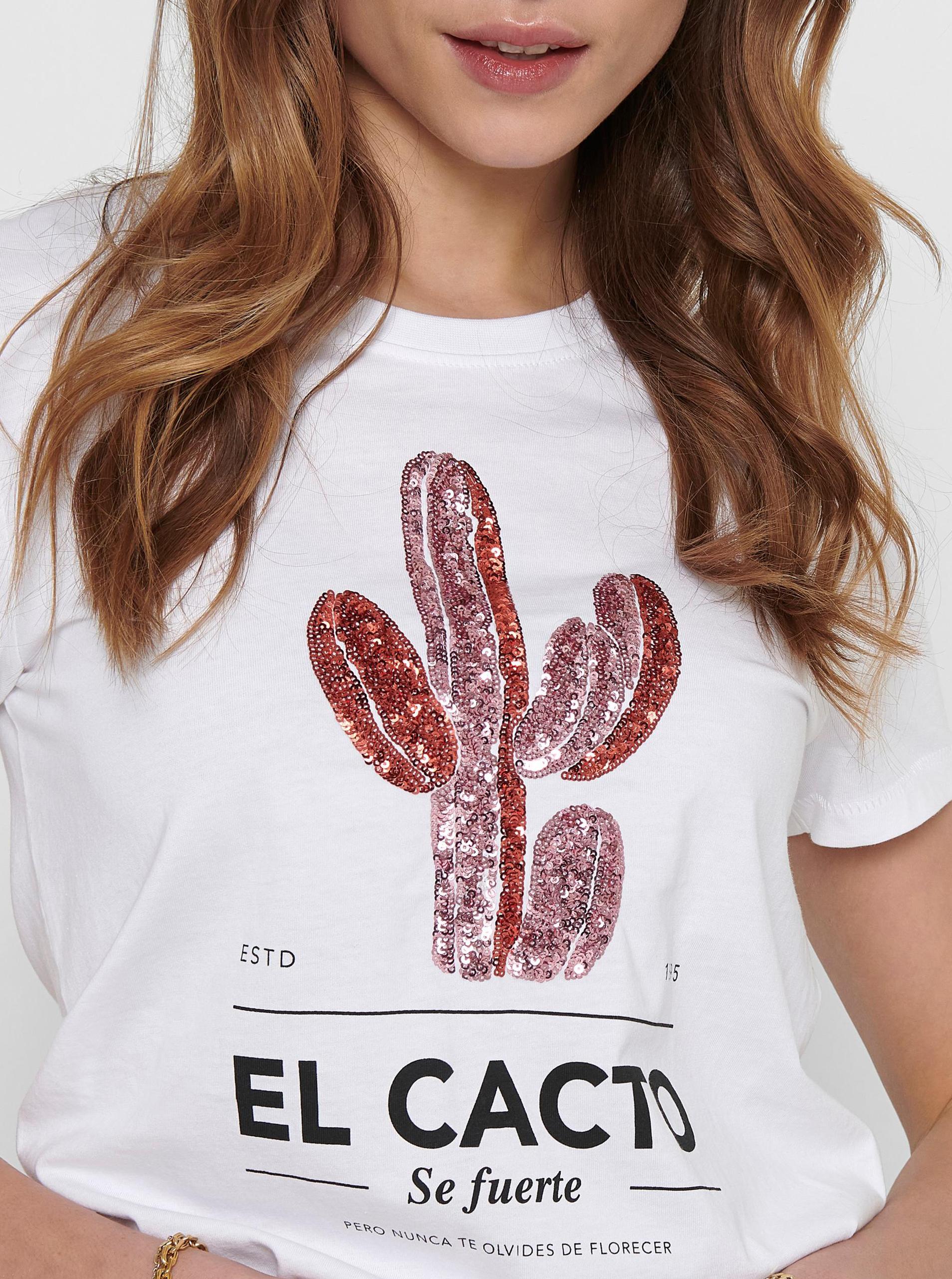 Only bianco da donna maglietta Kita con stampa