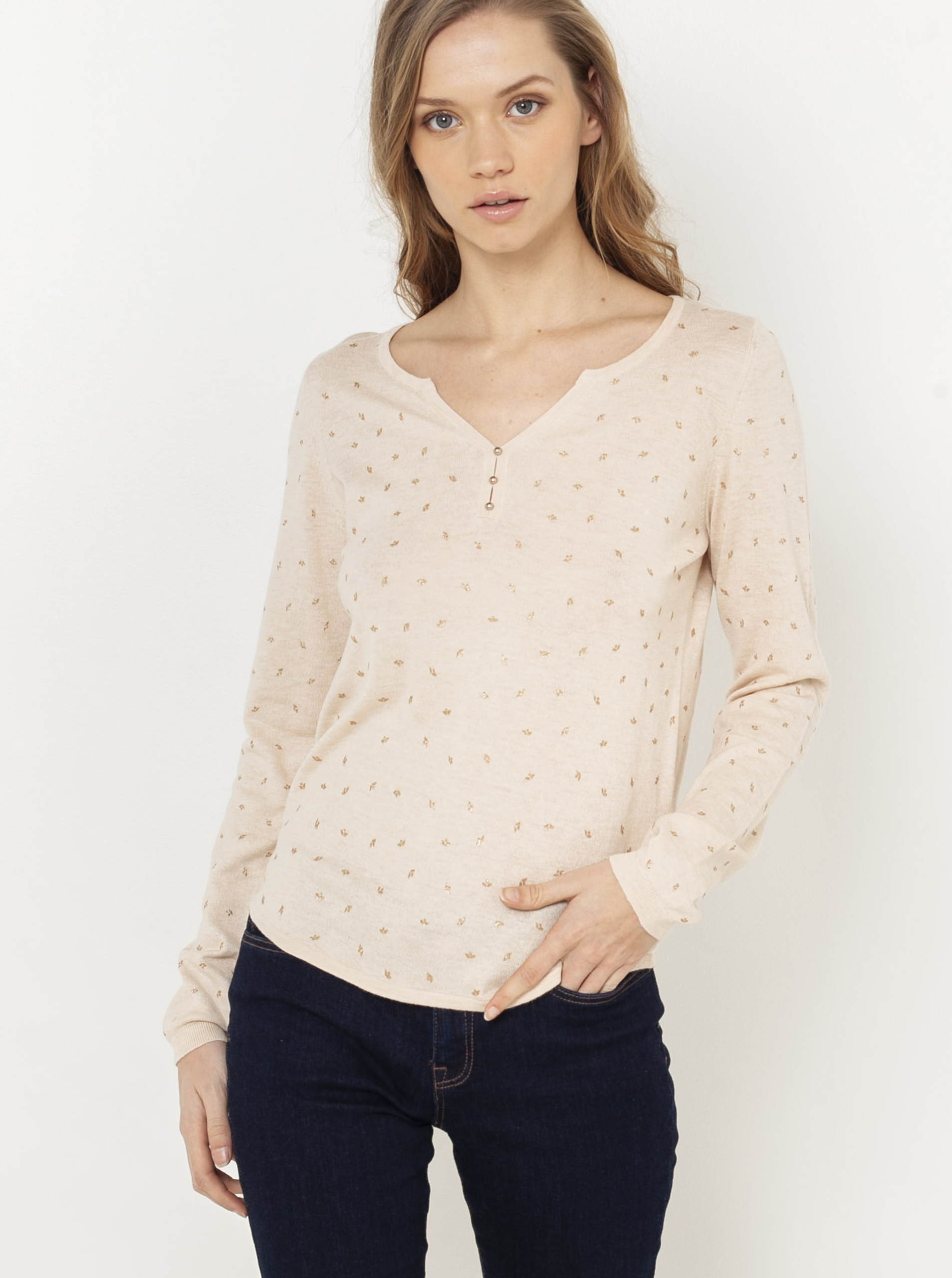 CAMAIEU beige maglietta con motivo