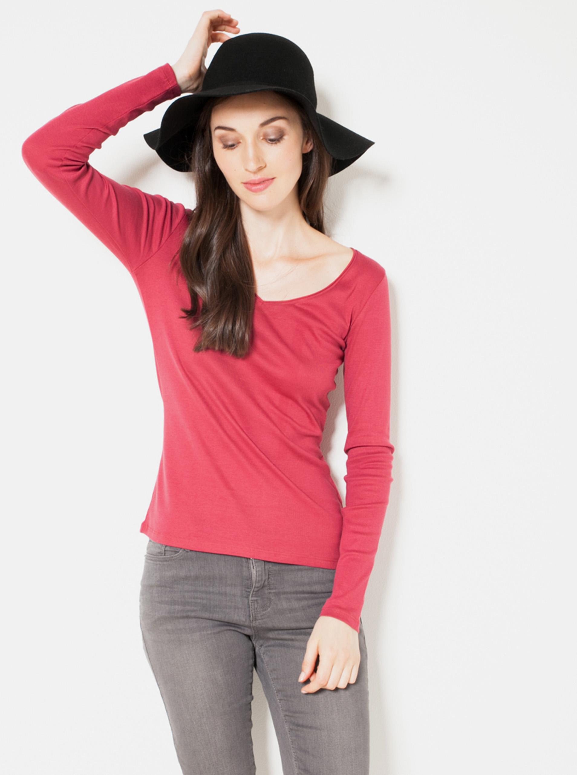 CAMAIEU rosso basic maglietta