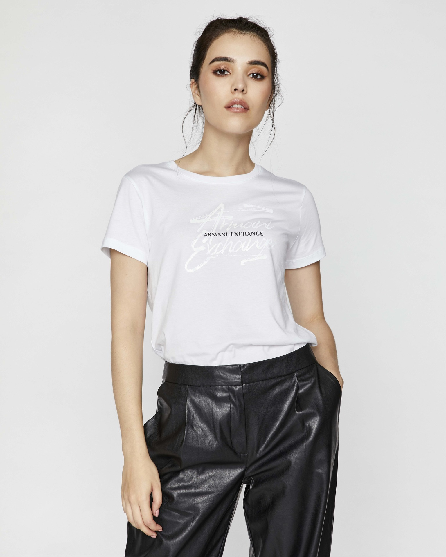 Armani Exchange bianco da donna maglietta