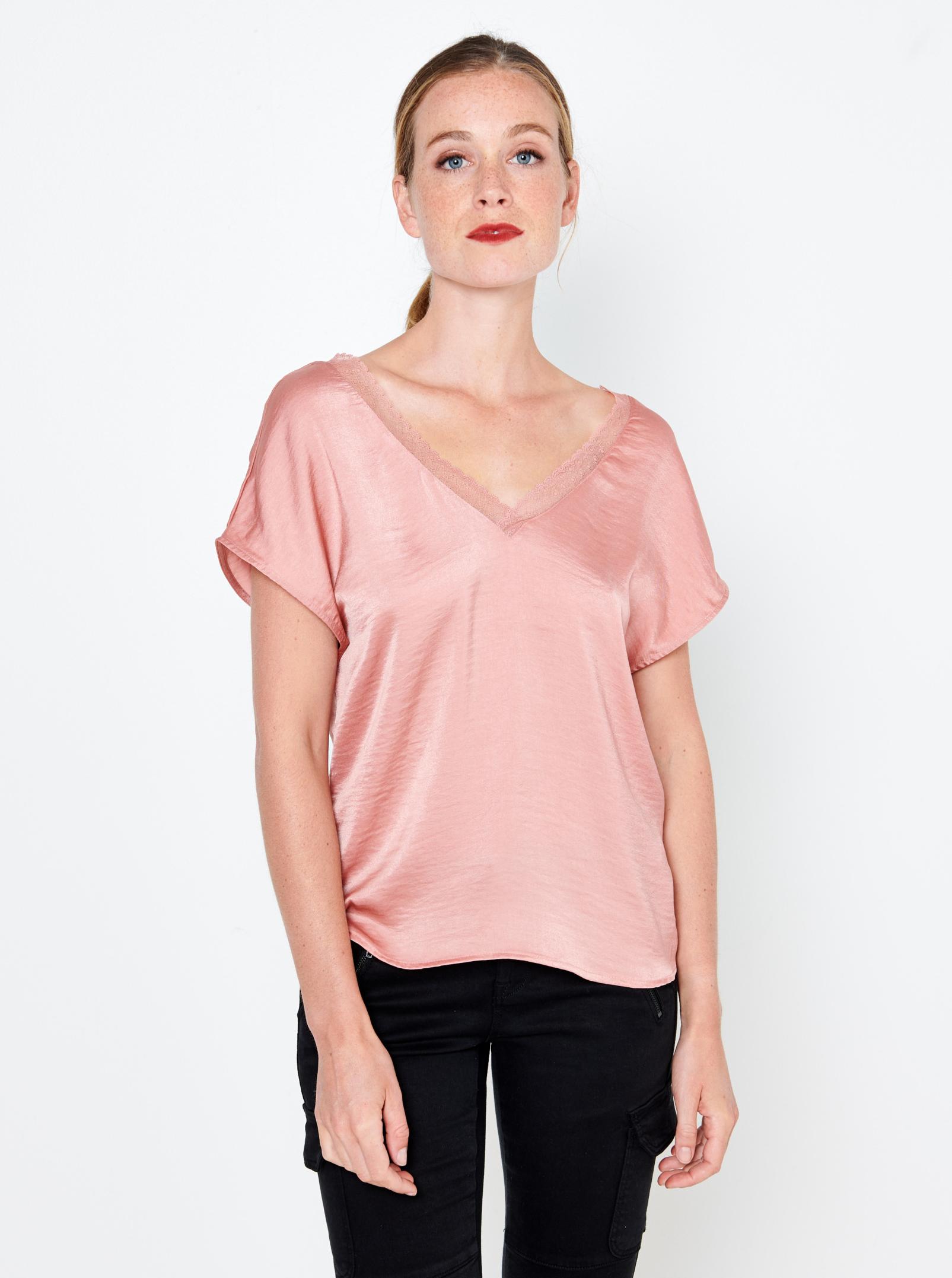 CAMAIEU rosa camicetta