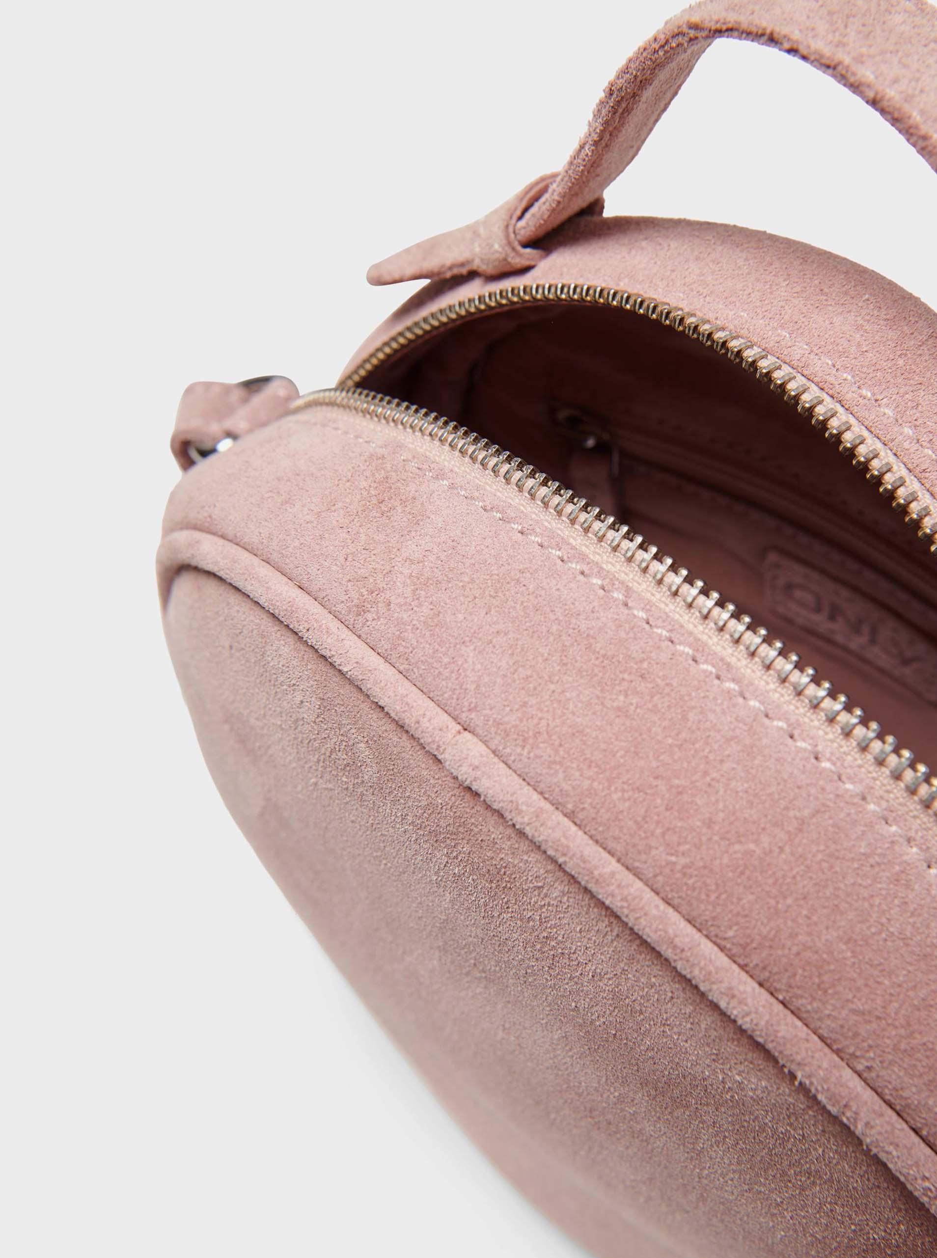 Borsa a tracolla in camoscio rosa chiaro SOLO Alison
