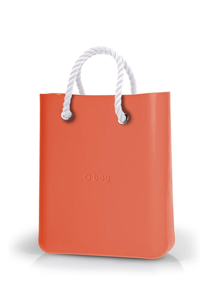 O bag  O Chic borsetta Papaya con corde corte bianco