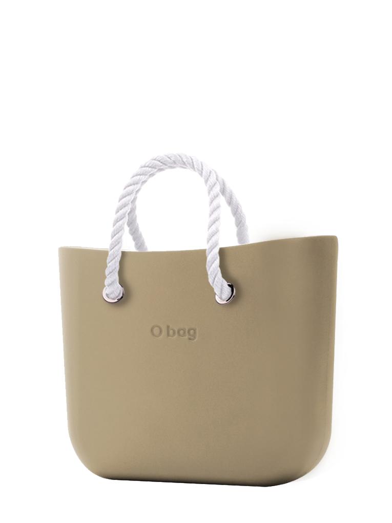 O bag  borsetta Sabbia con corde corte bianco