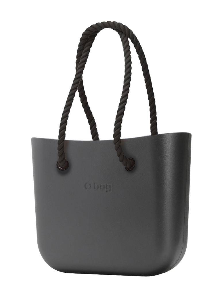 O bag  MINI borsetta Grafite con corde lunghe nero