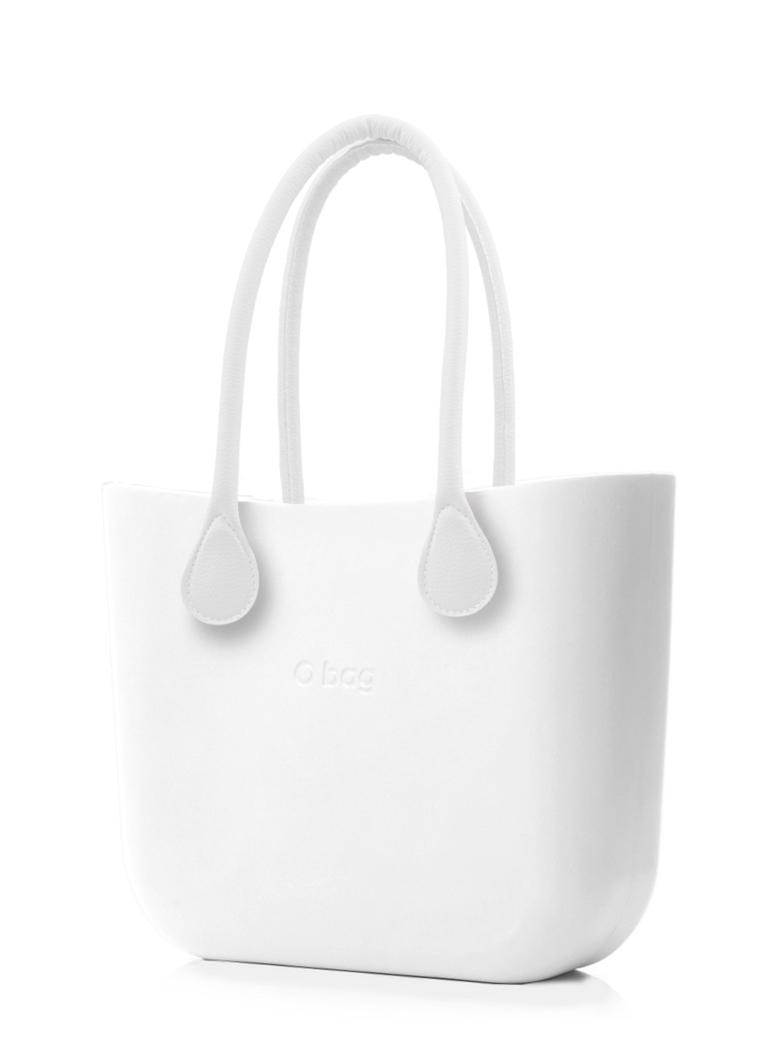 O bag  bianco borsetta MINI Bianco con manici lunghi in ecopelle bianco