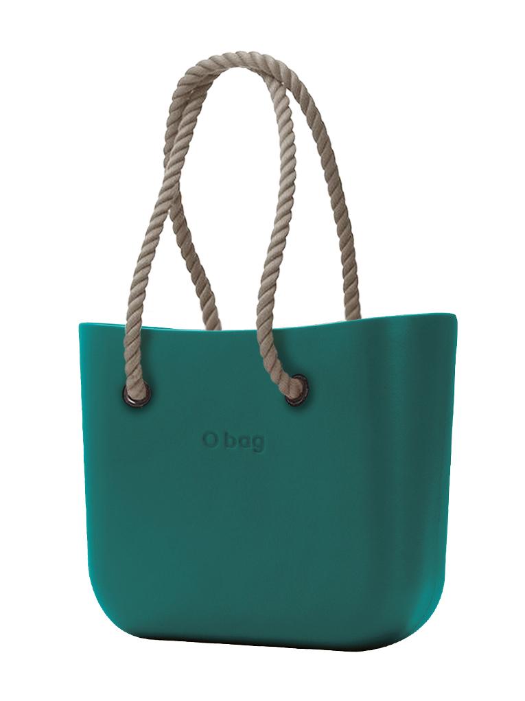 O bag  MINI borsetta Petrolio con corde lunghe natural