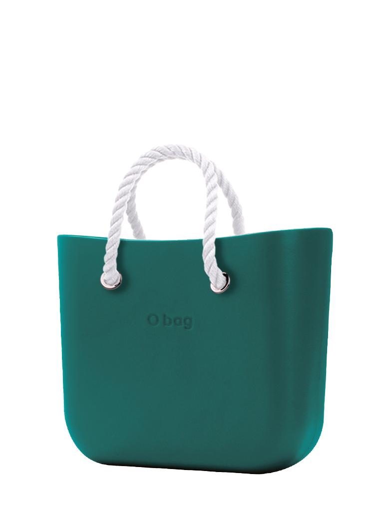 O bag  borsetta MINI Petrolio con corde corte bianco