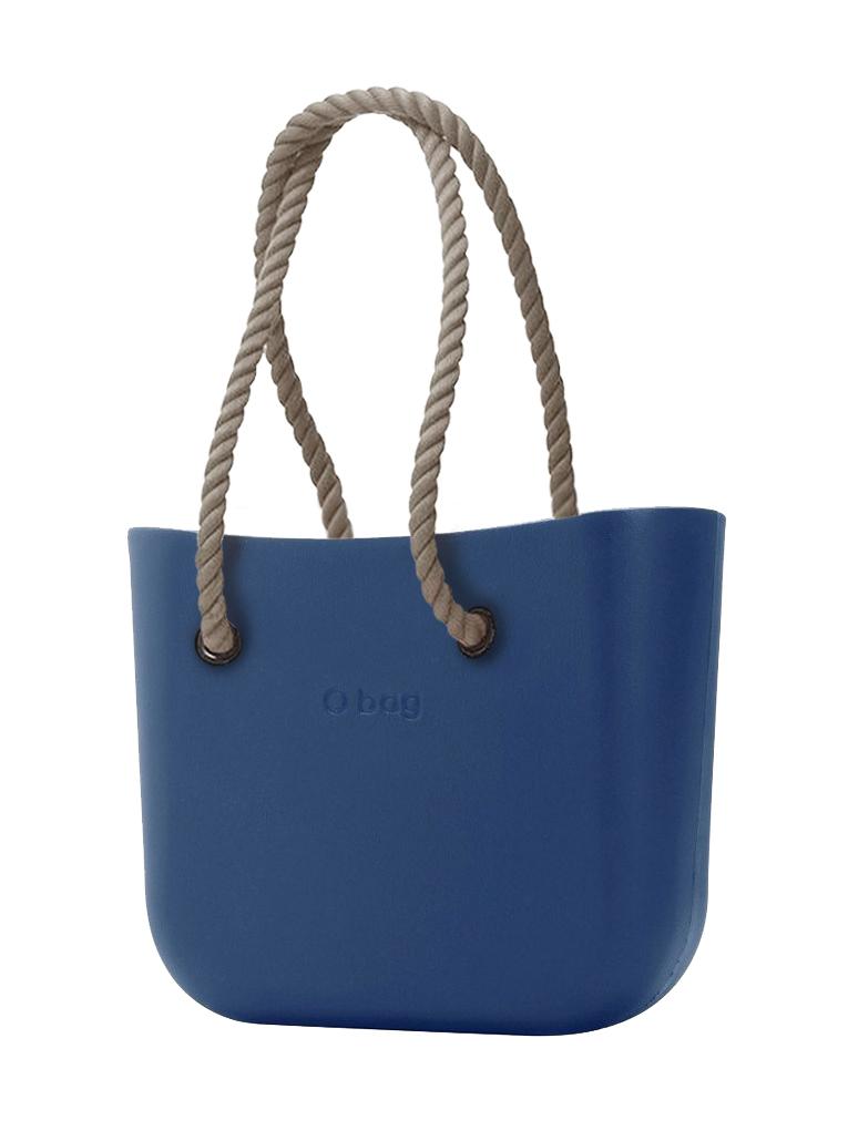O bag  blu MINI borsetta Bluette con corde lunghe natural