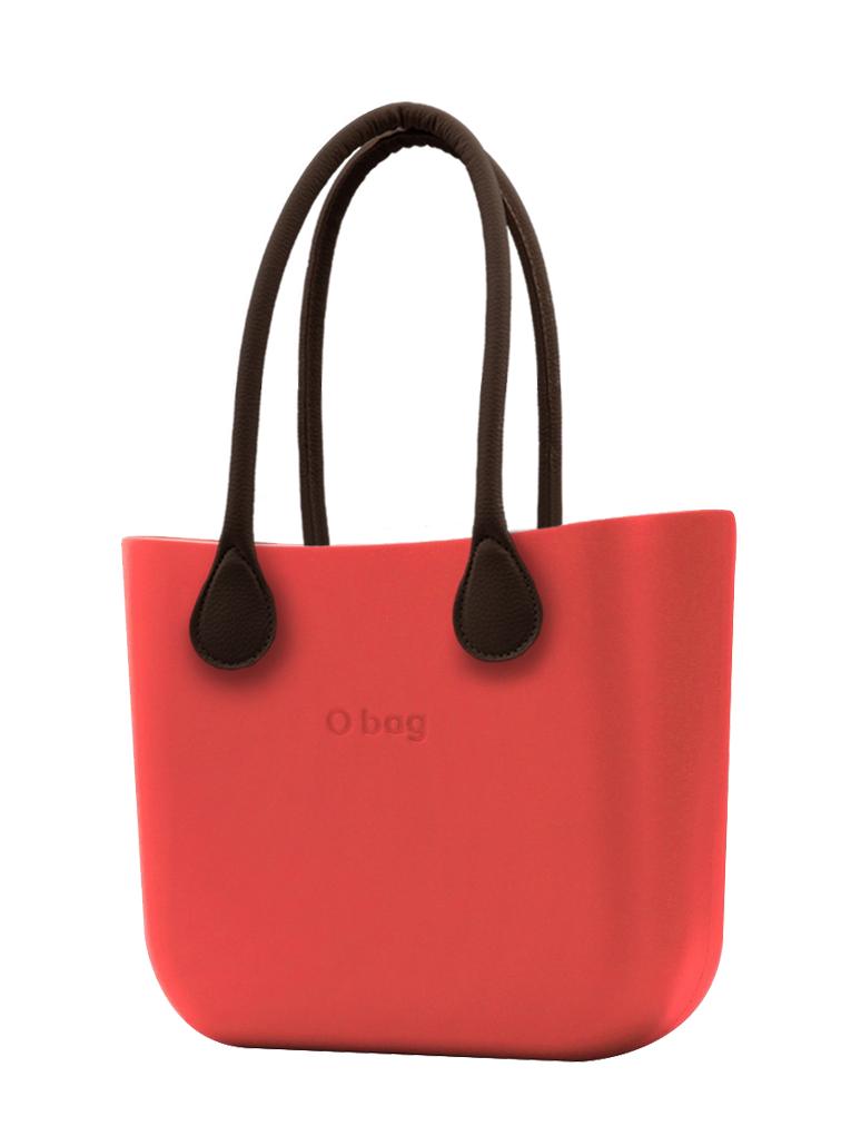 O bag  borsetta Fragola con manici lunghi in ecopelle marrone