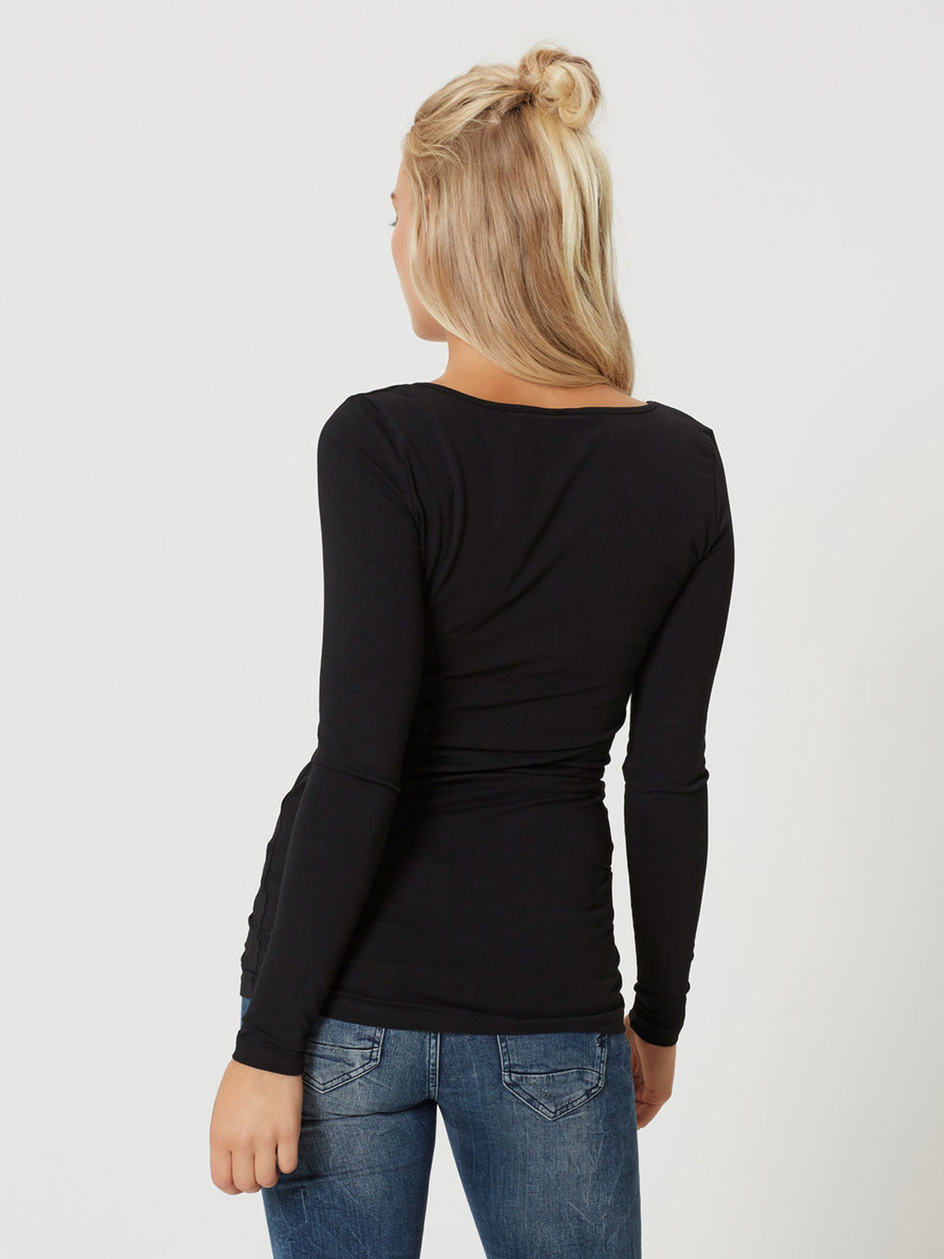 T-shirt basic lunga nera con maniche lunghe VERO MODA Maxi My