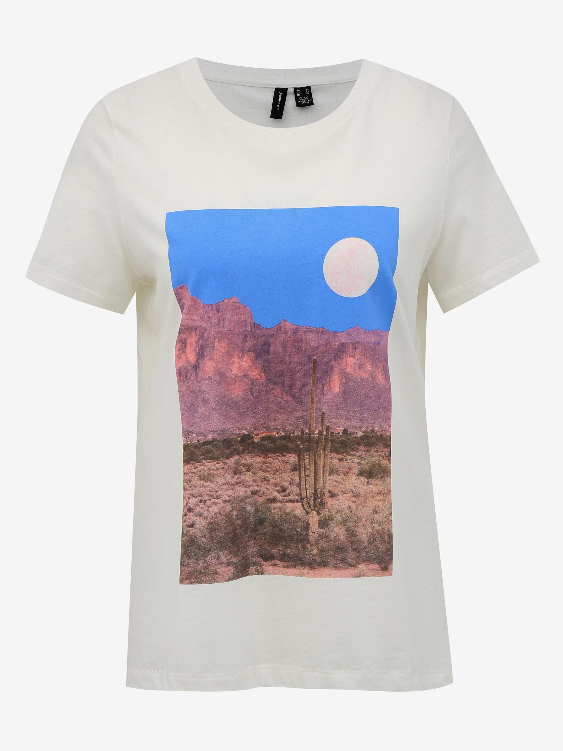Vero Moda bianco maglietta Desert con stampa