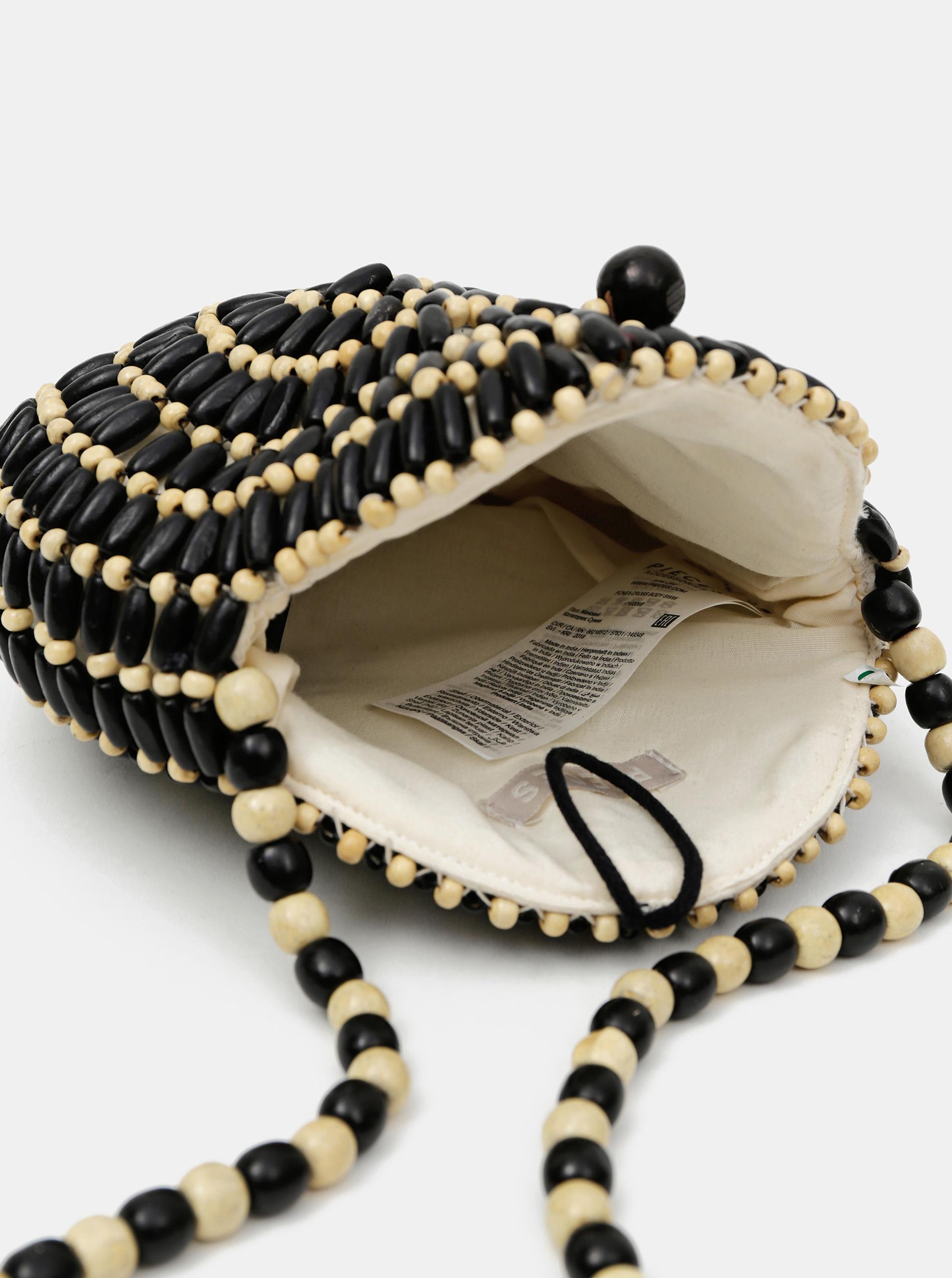 Borsa a tracolla in legno nero-beige Pezzi Nea
