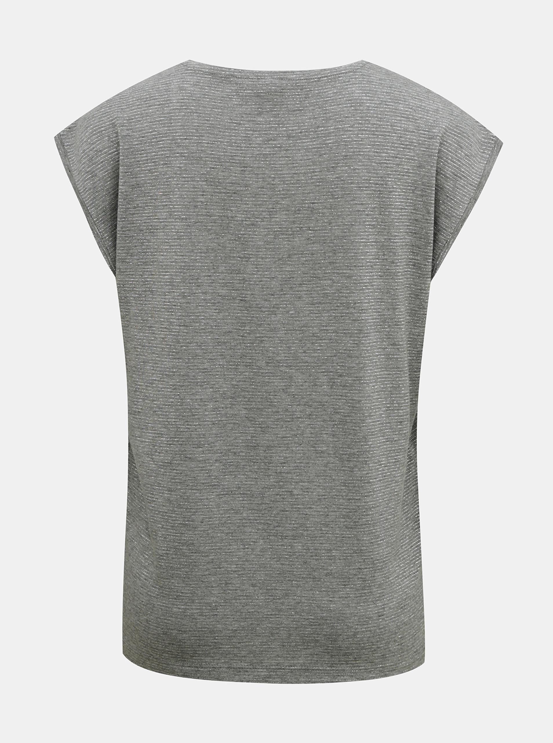 T-shirt grigia con pezzi di fibre metalliche