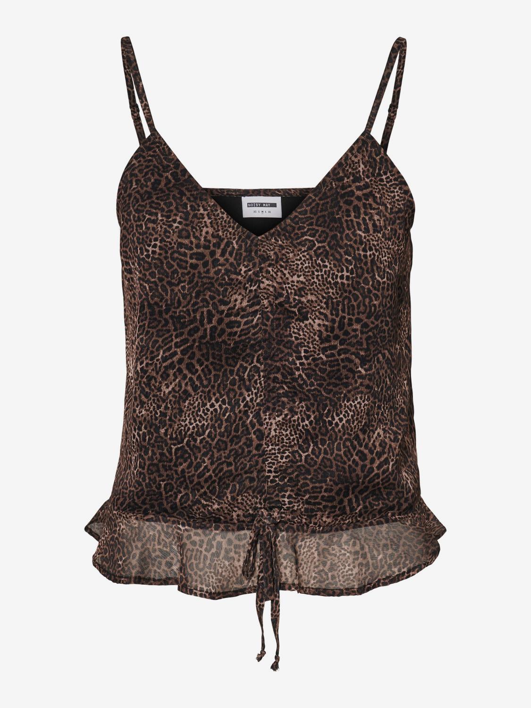 Top marrone-nero con motivo leopardato di Noisy May Melina