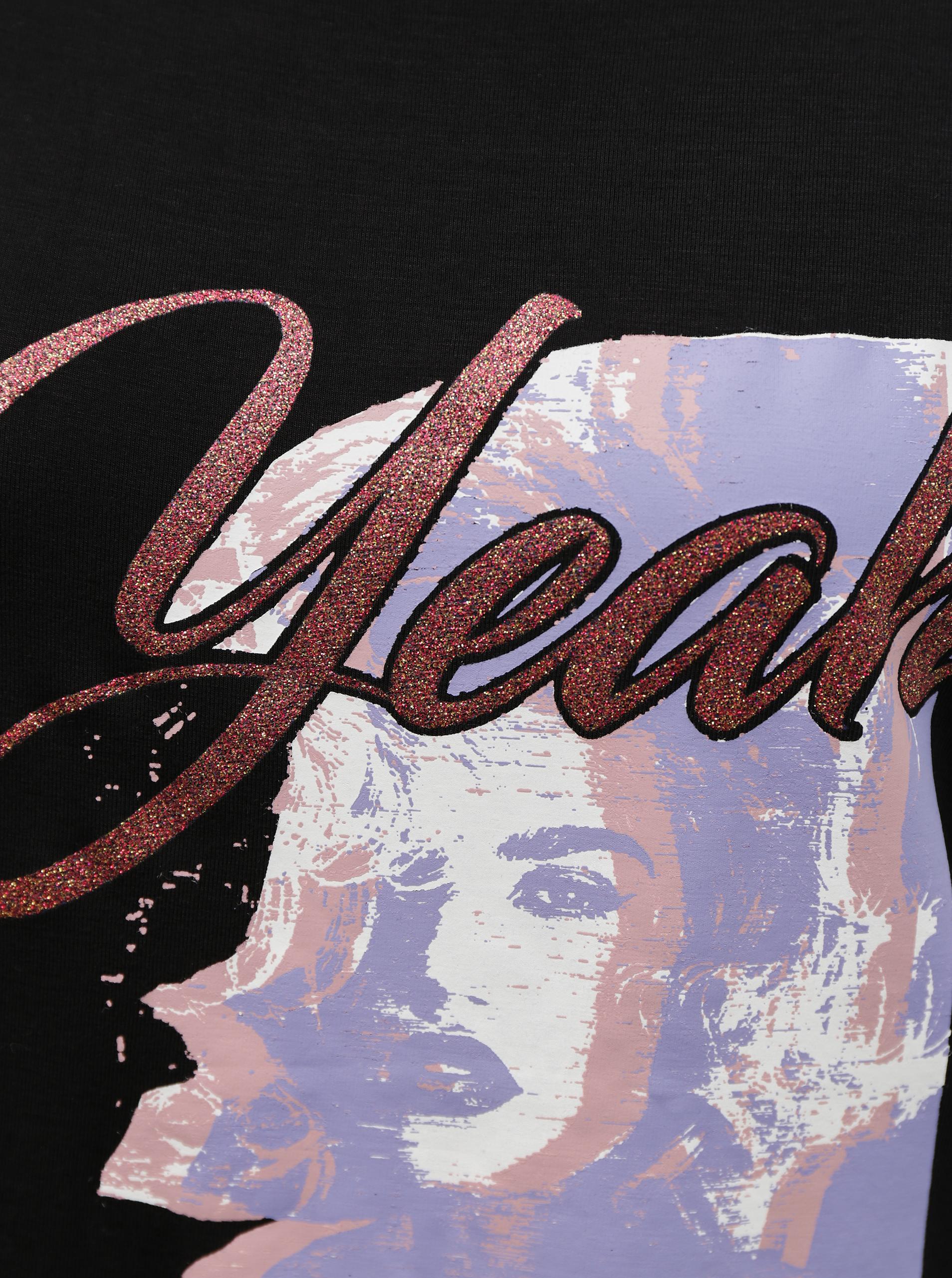 Guess nero maglietta Leona Tee
