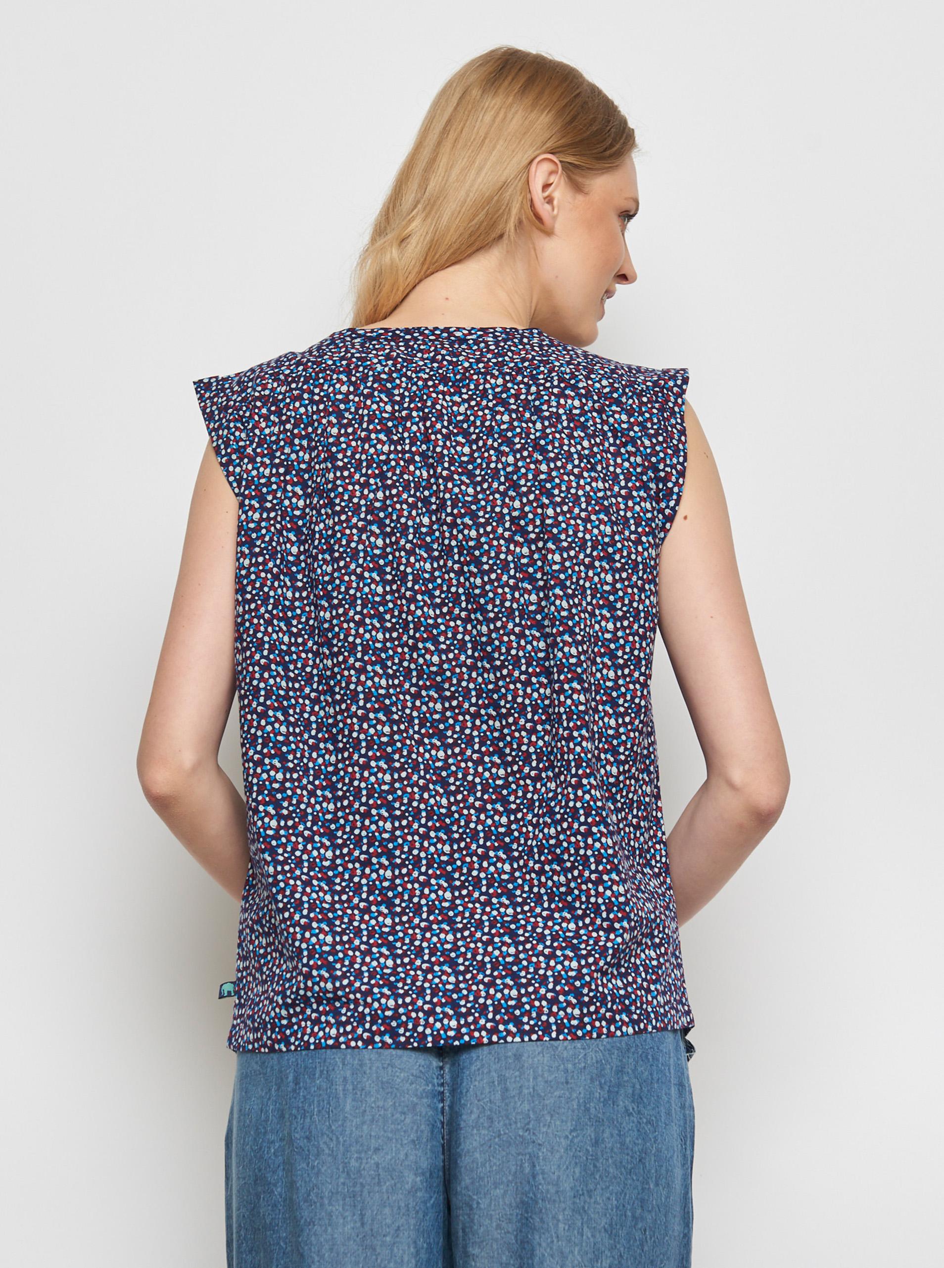 Tranquillo blu camicetta Lamin con motivi colorati